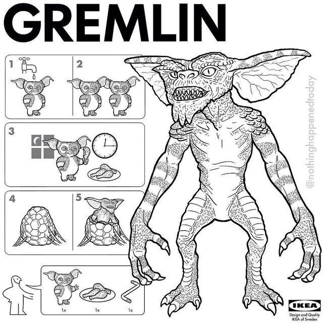 Gremlins IKEA Instructions On How To Look After Your
