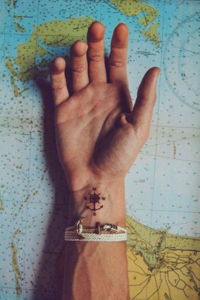 Small Compass Wrist Tattoo Tattoos For Men With Meaning Hand On Top Of A Map White Anchor Brac Idee Per Tatuaggi Idee Per Tatuaggi Uomo Tatuaggi Spirituali