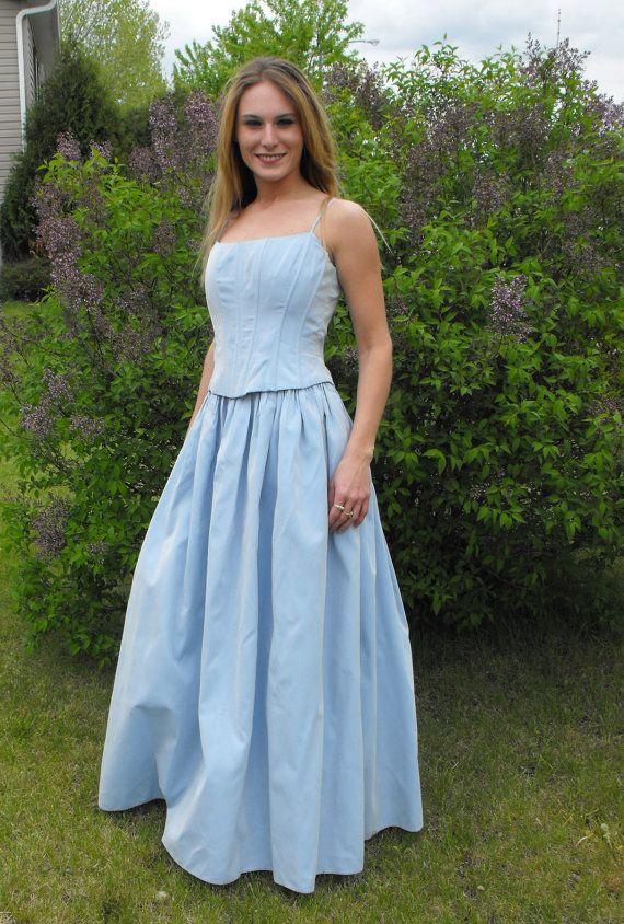 944ba50c2d8 Vintage Gunne Sax Jessica McClintock Dress Gown Blue Princess 7 XS S.   99.99