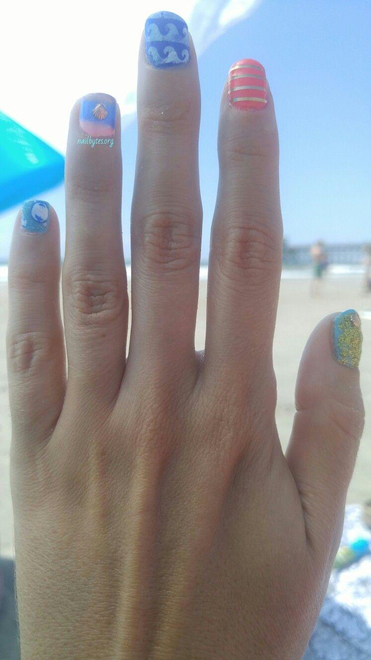 Beach nails. I used Nail aid keratin Sinful colors endless blue La ...
