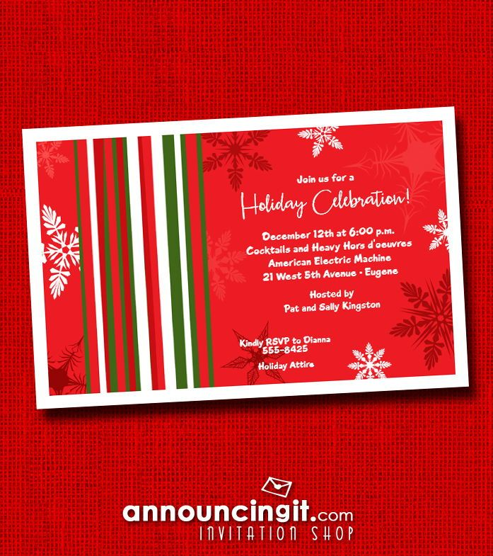 Mod Snow on Red Holiday Invitations in 2018 Christmas and Holiday