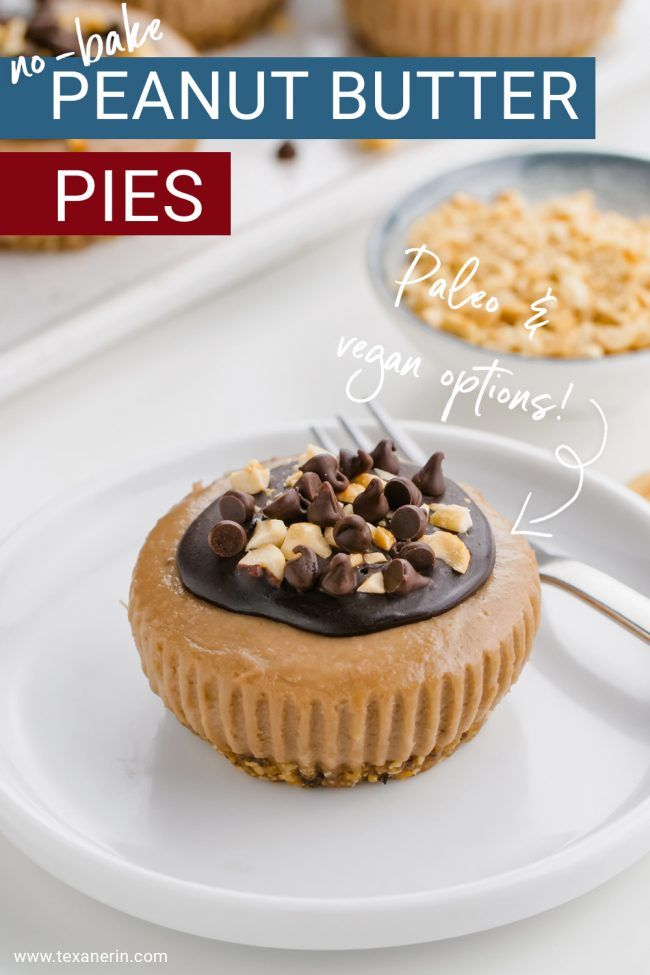 Healthy no-bake mini pies you can make for your next get together with family or friends! This delicious recipe is a healthier choice for an easy no-bake dessert. These no-bake peanut butter pies are vegan with a paleo option.