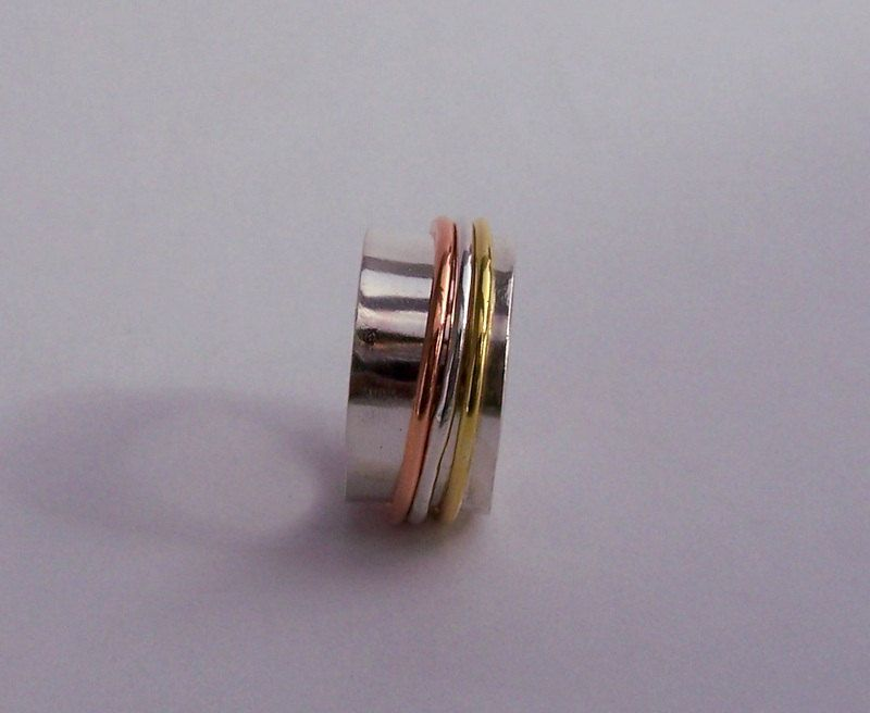 Wide Band Ring Spinner Ring Fiddle Ring with copper by MoodiChic, $55.00