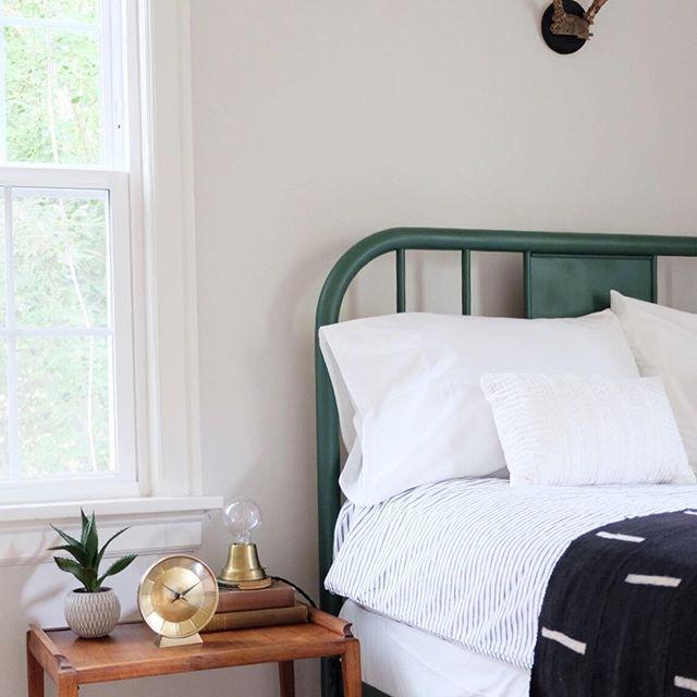 Vintage Modern Bedroom Green Metal Bed Frame Ion Lamp Staged