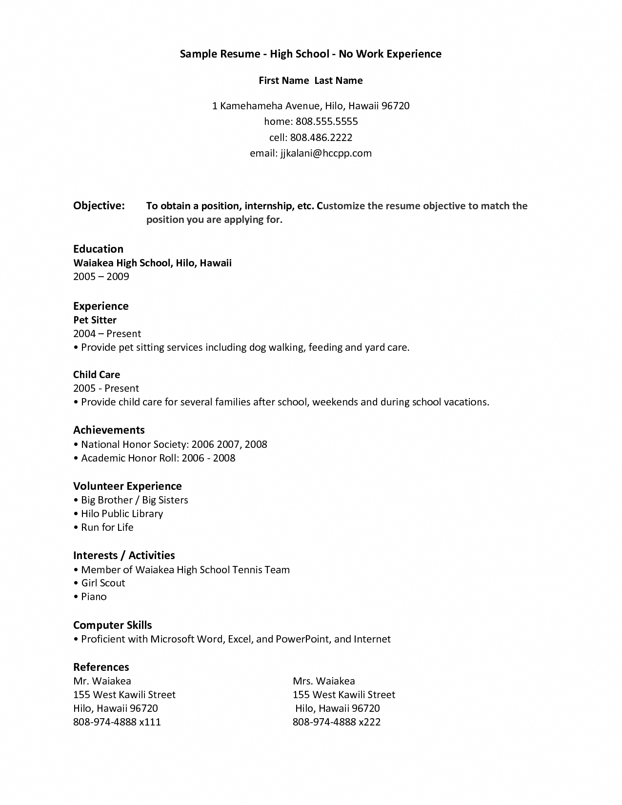 Work Experience Resume Examples