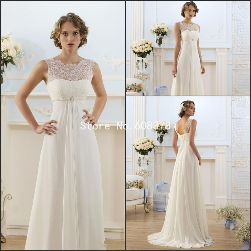Image of Empire Waist Wedding Dress With Sleeves Long A Line ...