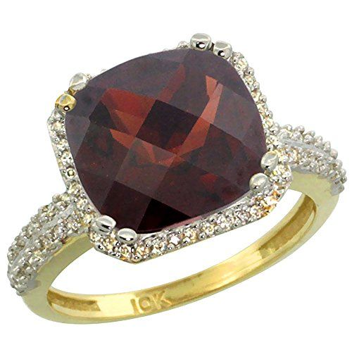 14K Yellow Gold Natural Garnet Ring Cushioncut 11x11mm Diamond Halo size 10 >>> Want to know more, click on the image.