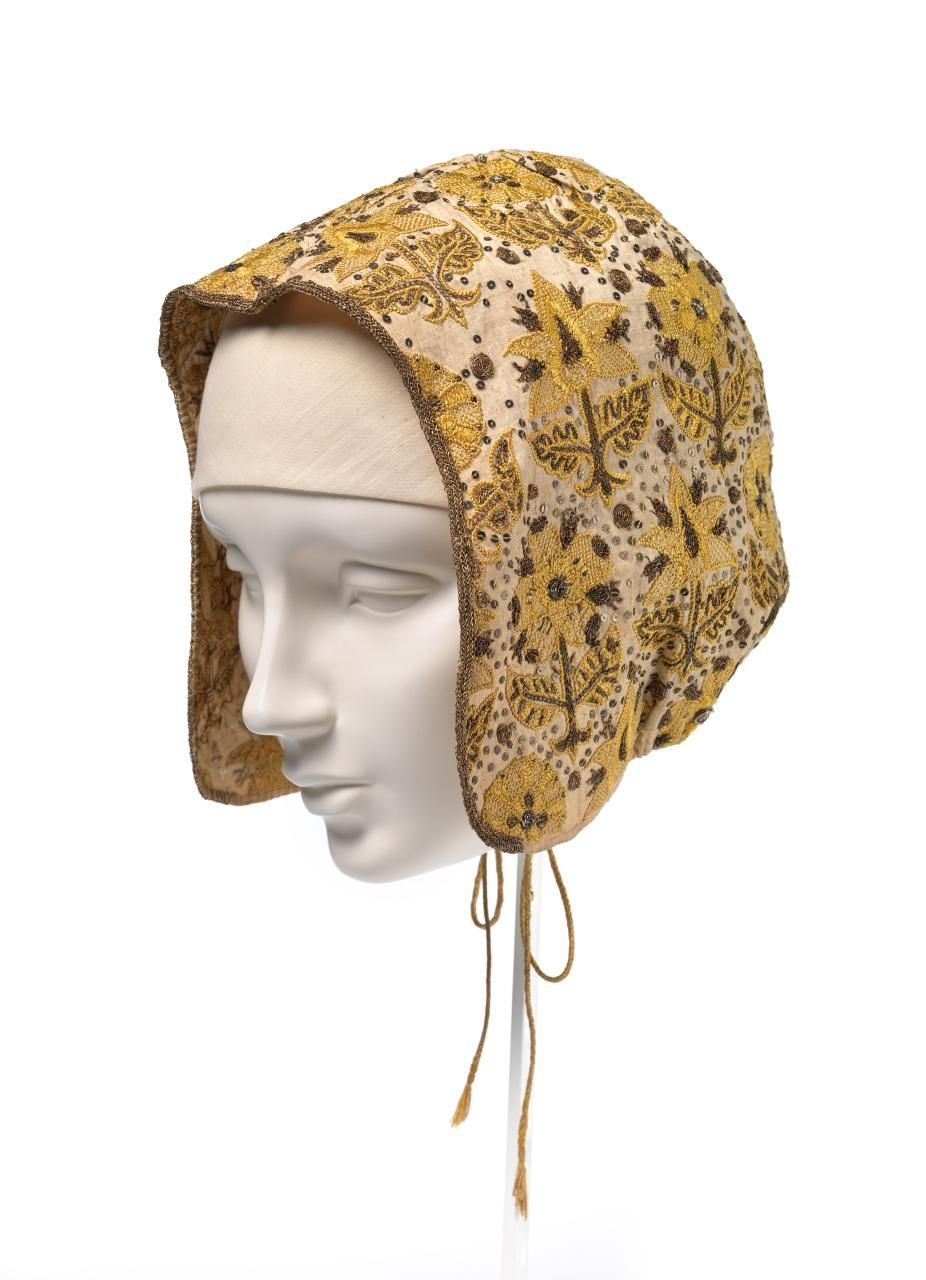 Coif | (ENGLAND) | NGV - Stunning early 17th century embroidered coif with stylized borage flowers. Accession NumberD152-1977