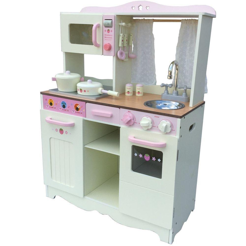 Vintage Kinderküche Spielküche aus Holz CREME mit Zubehör ...