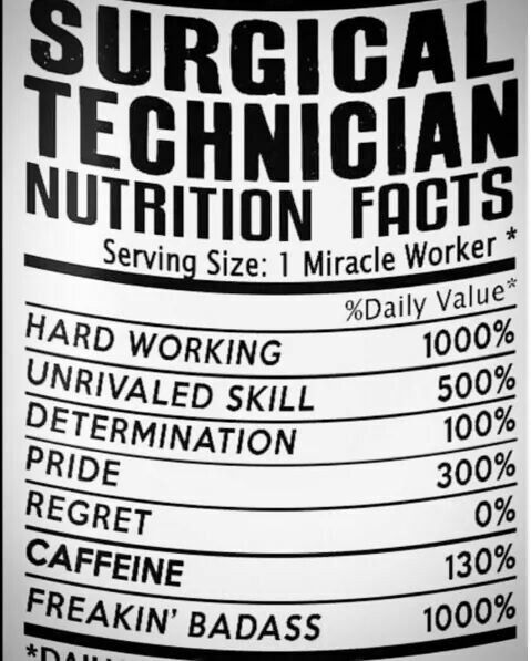 Surgical Tech Nutrition Facts  My Second Home  Surgery