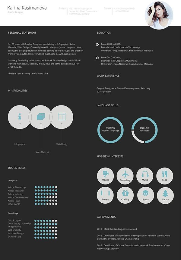 Another great #resume #design that uses a white header \/ black - hobbies and interests on a resume