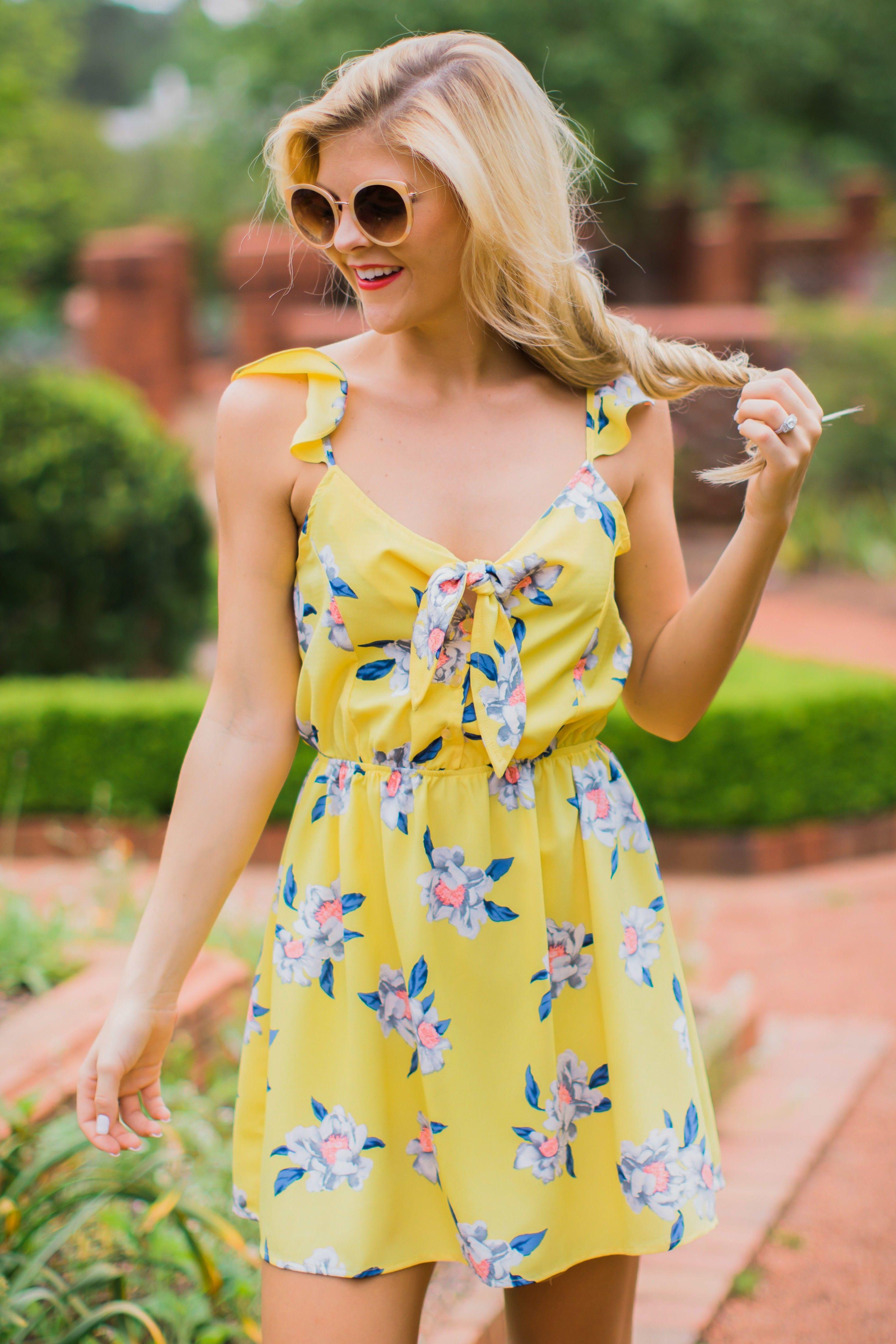 Pretty yellow sundress floral dress summer dress 34