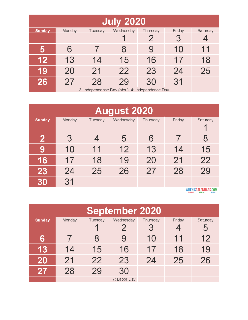 July August September 2020 Calendar 3 Months Per Page Printable