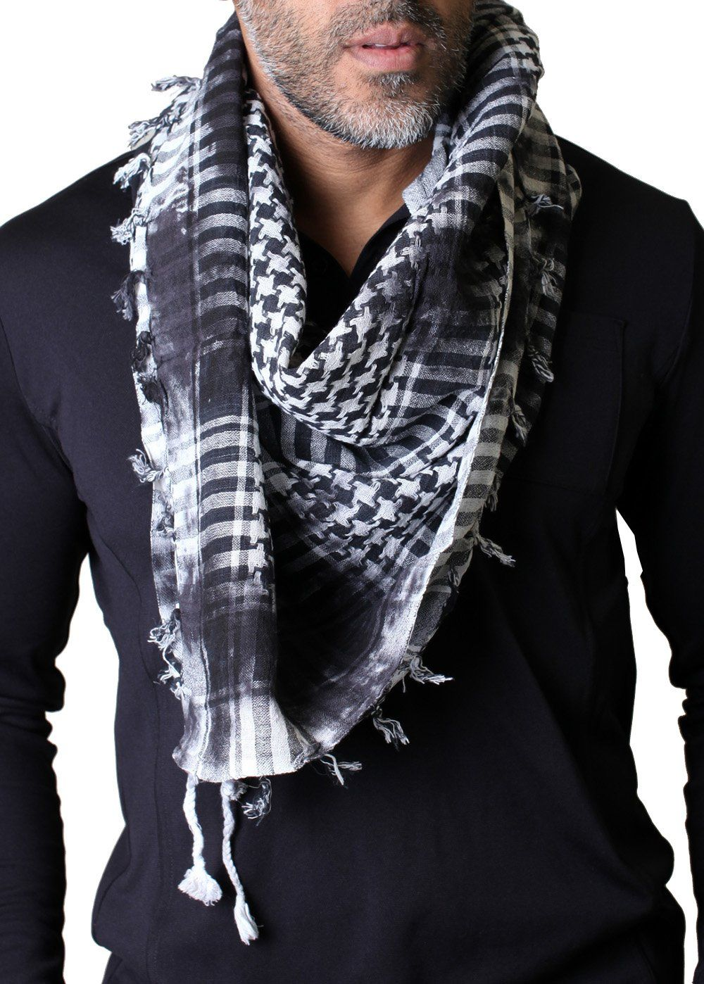 Men s Charleston Rugged Distressed Black Check Square COTTON Shemagh  Keffiyeh Scarf at Amazon Men s Clothing store  a6af09a2083