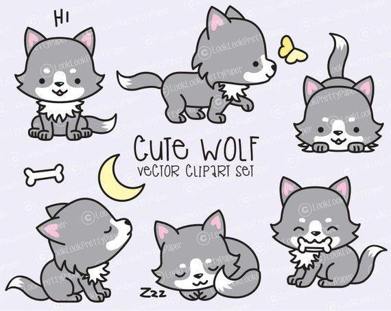 Premium Vector Clipart - Kawaii Wolf - Cute Wolves Clipart ...