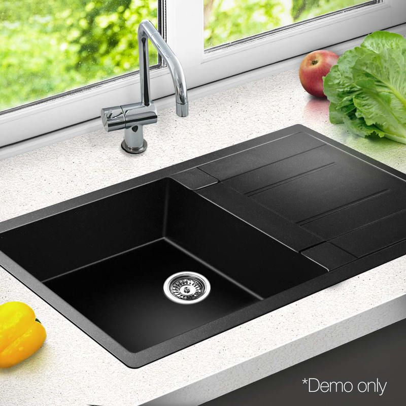 Granite Stone Kitchen Sink w/ Drainer Black 86x50cm | Stone kitchen ...