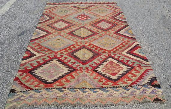Handgemachte türkischer Kelim Teppich, Kelim Teppich, Teppich - teppich wohnzimmer grose