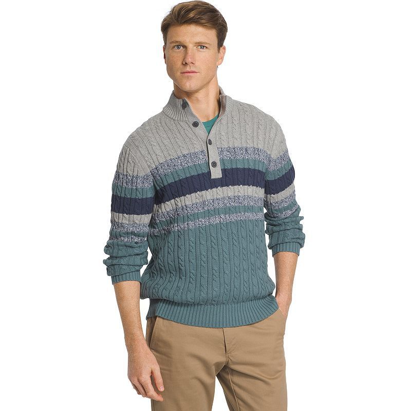 Men's IZOD Classic-Fit Striped Fine-Gauge Mockneck Sweater, Size: Large, Turquoise/Blue (Turq/Aqua)