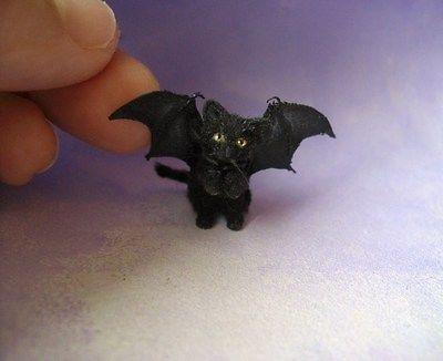 Miniature Black Kitten Bat Wings 1 12
