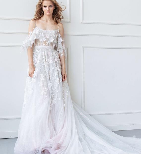Brautkleid EDEM von Ange Etoiles mit langem Zug • A-Linie Brautkleid mit langem Zug •