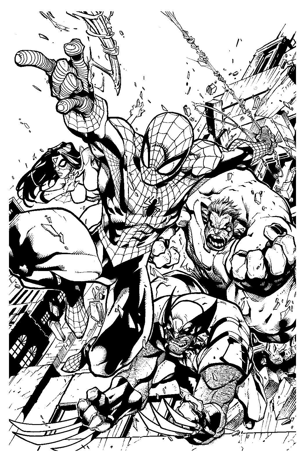 Spiderman Hulk Spider Woman And Wolverine Line Art Desenho Historia Em Quadrinhos Desenhos Da Marvel Joe Madureira