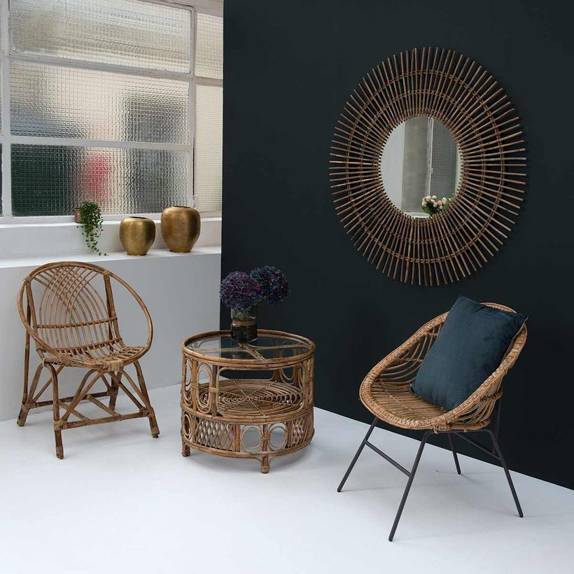 Miroir Rond En Rotin Naturel Tresse Grise Xl 120 Cm Magnus Moka Decoration Maison Table Basse Miroir Rond