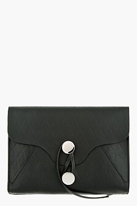1fd033199 PROENZA SCHOULER Black Embossed Leather Envelope Clutch | Bag's ...