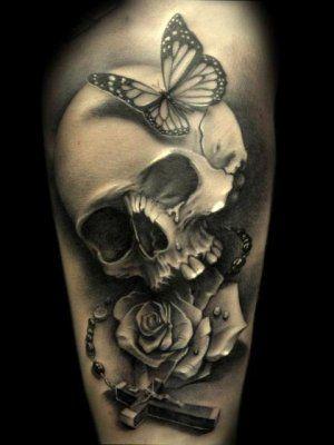 Compo Crane Rose Chapelet Et Papillon 13 Skull Tattoos Tattoos Skull Sleeve Tattoos