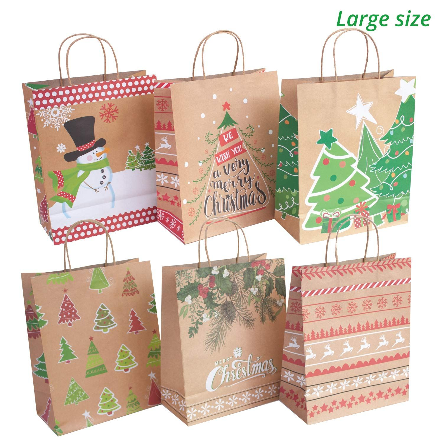 24 Kraft Christmas Gift Bags Assorted Sizes With 60 Count Tags Bulk Set 6 Xl Large Medium Small