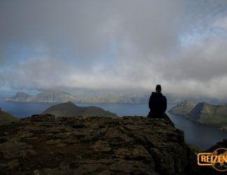 On the top of the highest mountain Slættaratindur
