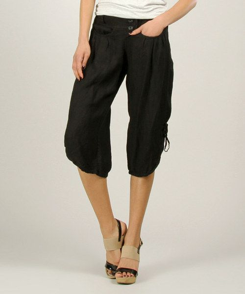 100% LIN Black Linen Capri Pants | Black linen and Capri pants