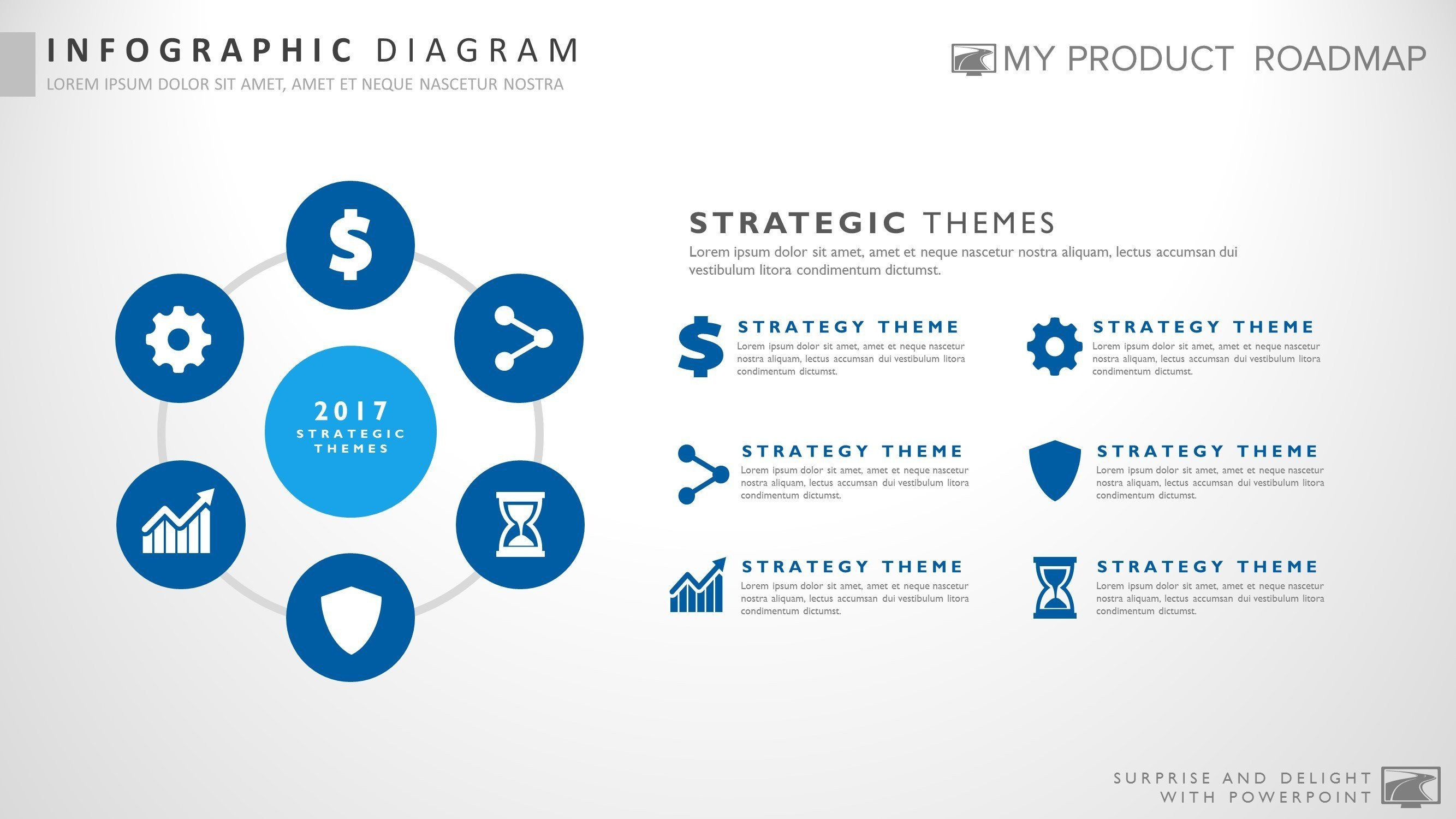six stage innovative powerpoint strategy infographic slide template