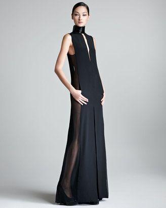 e8e11bdf50a ShopStyle  Emilio PucciSheer-Side Halter Gown
