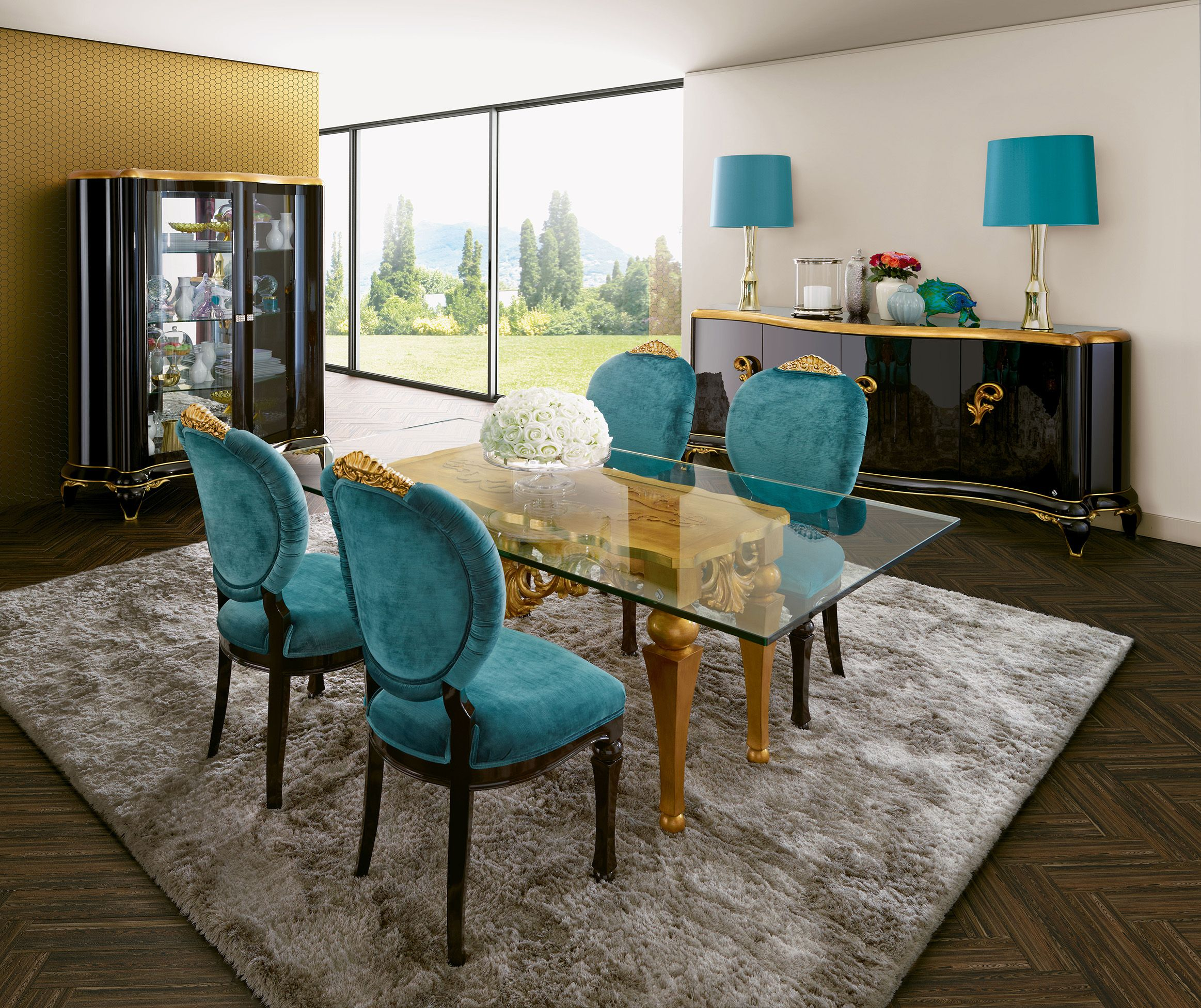 Capri turquoise and gold dining room Jetclass | Real Furniture ...