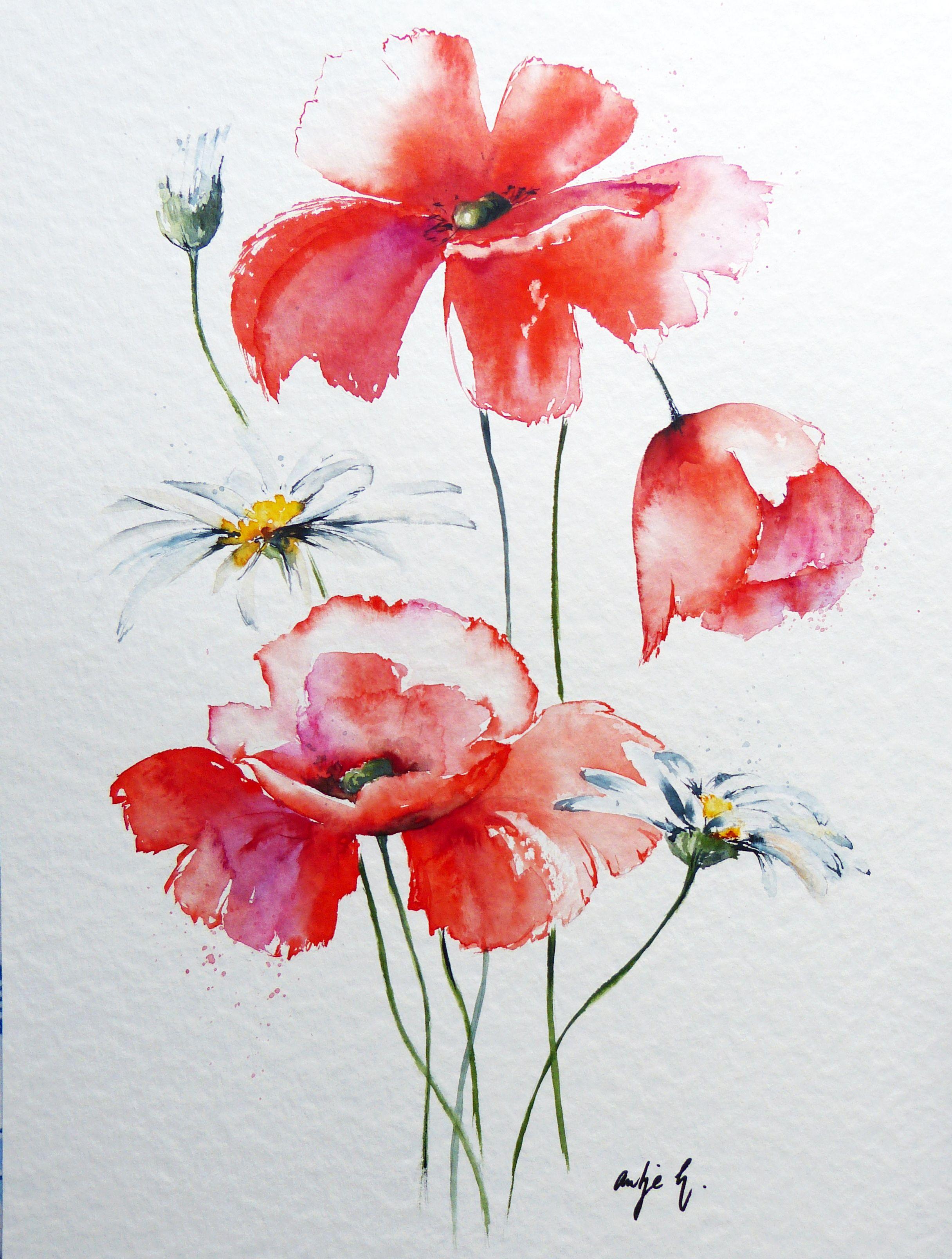 Mohn Margeriten Watercolor 30x40 Antje Hettner Aquarell Watercolor Kunst Malerei Blumen Original Flower Aquarell Mohnblumen Blumen Aquarell Aquarell Blumen