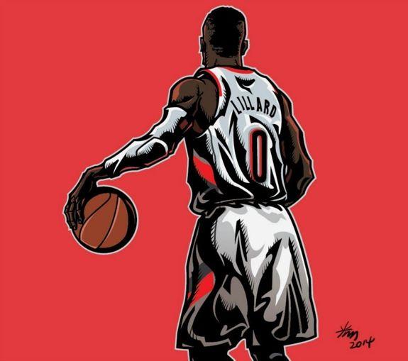 Damian Lillard Zero Illustration Hooped Up Nba Basketball Art Basketball Art Nba Art