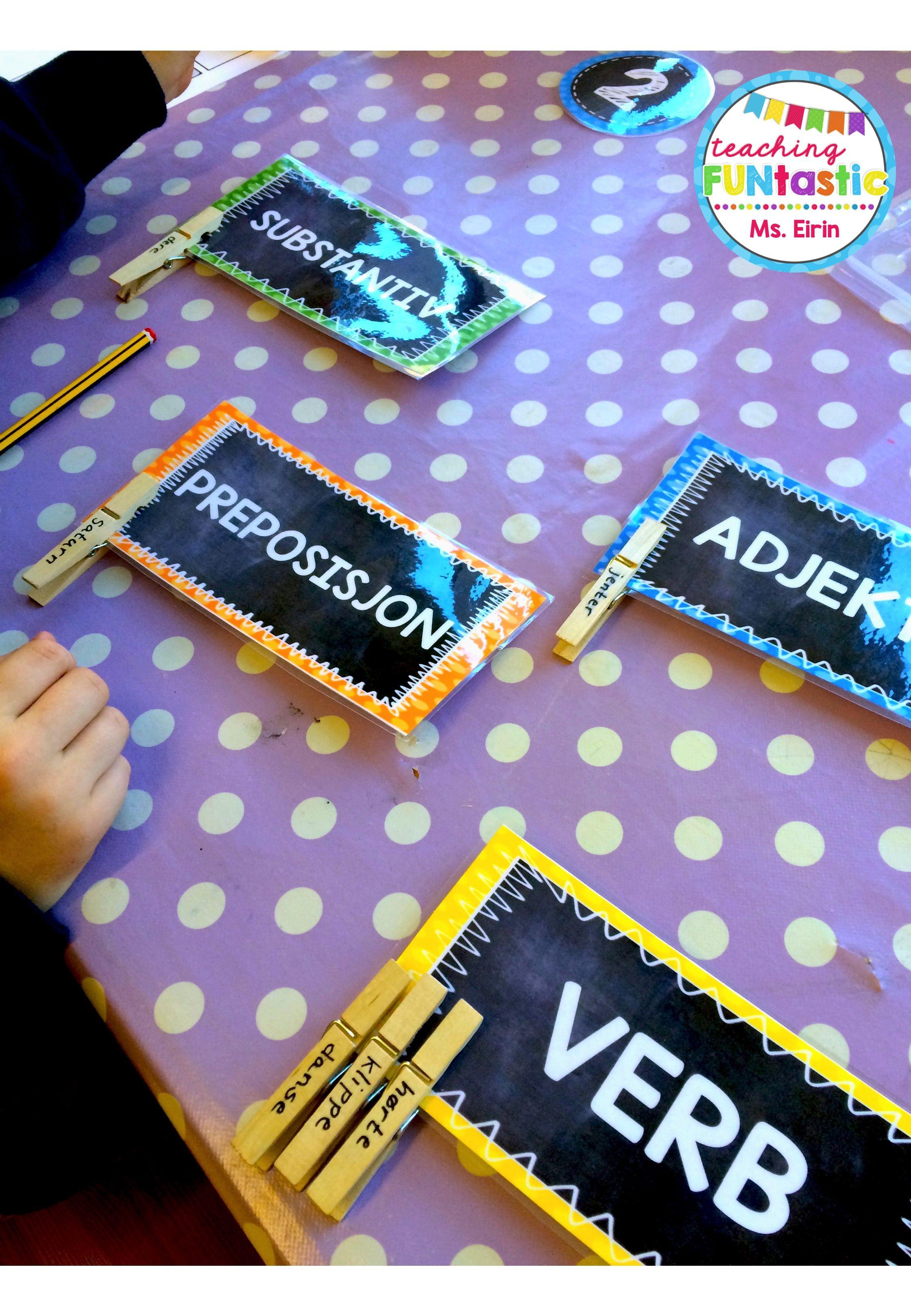 """PY 5 - Uke 7: """"Klassifiser ordene"""" Elevene viser at de kan ordklassene ved å bruke klesklyper med forskjellige ord og sortere dem riktig."""