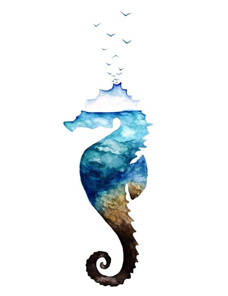 Ocean Seahorse Watercolor Seahorse Painting Ocean Life Ocean Life Painting Ocean Watercolor Beach Watercolor Coastal Art Beach Print Pintura De Caballito De Mar Caballito De Mar Dibujo Tatuajes Caballito De Mar