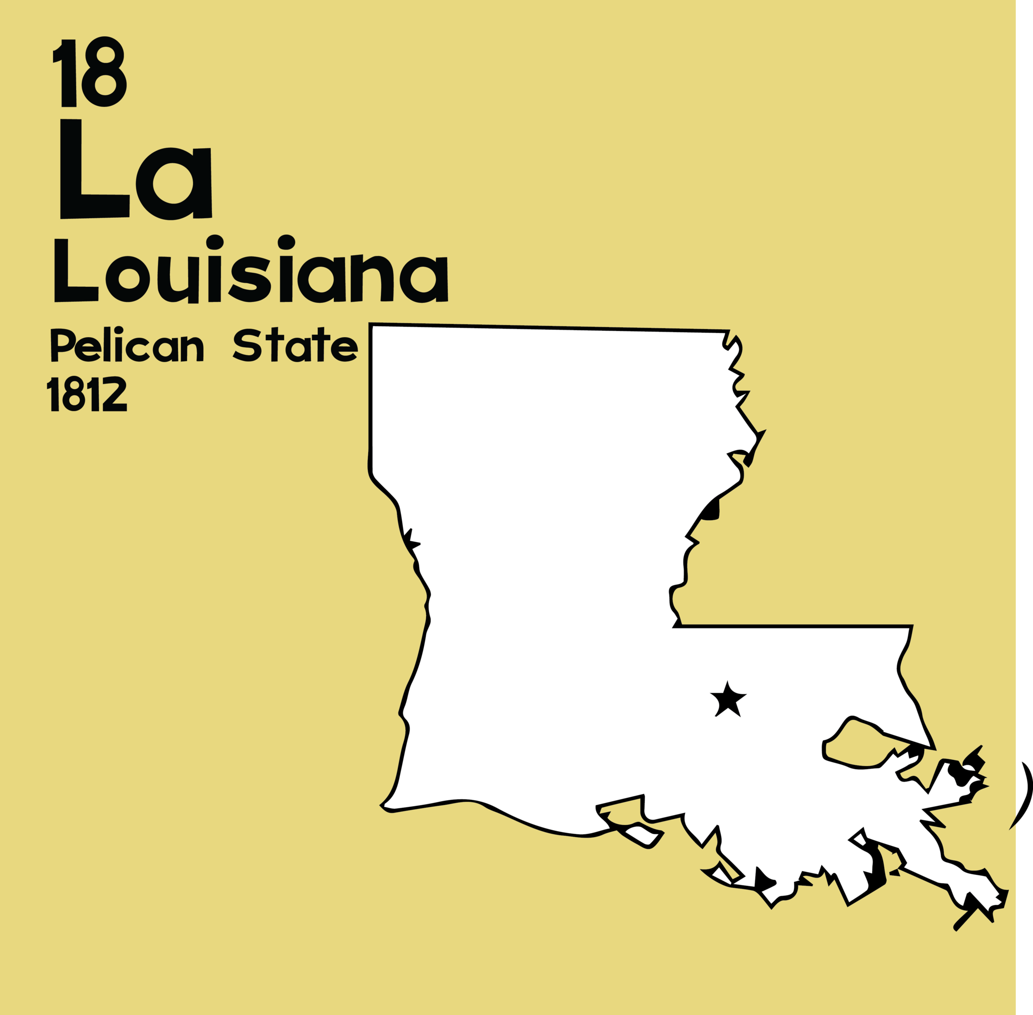 Louisiana - Unframed 12x12 Print | State mottos and 50 states