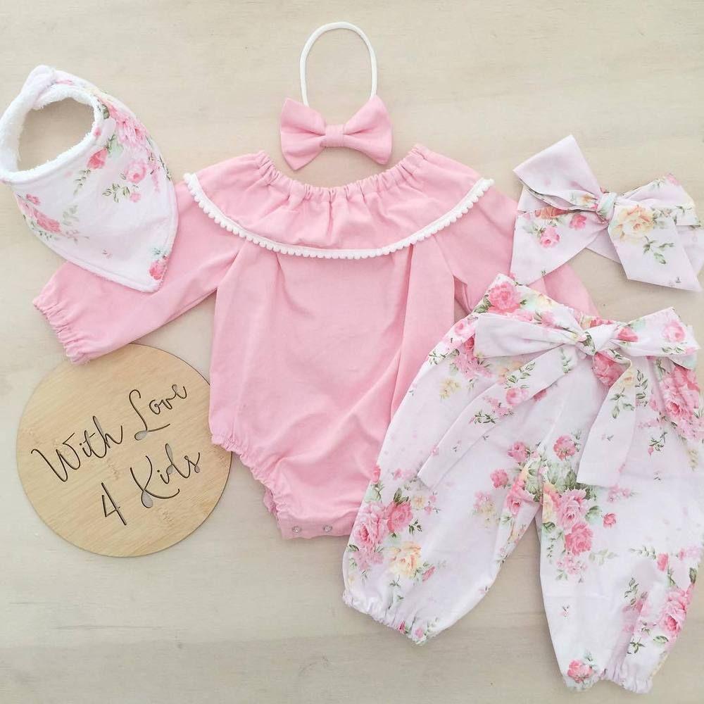 3Pcs Newborn Infant Baby Girl Clothes Romper Playsuit Bodysuit Pants Outfits Set