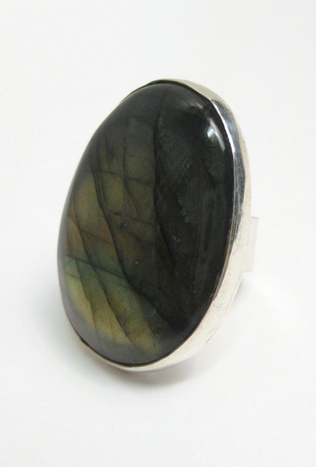 Anne Gangel Large Oval Labradorite and Silver Ring at ShopGoldyn.com