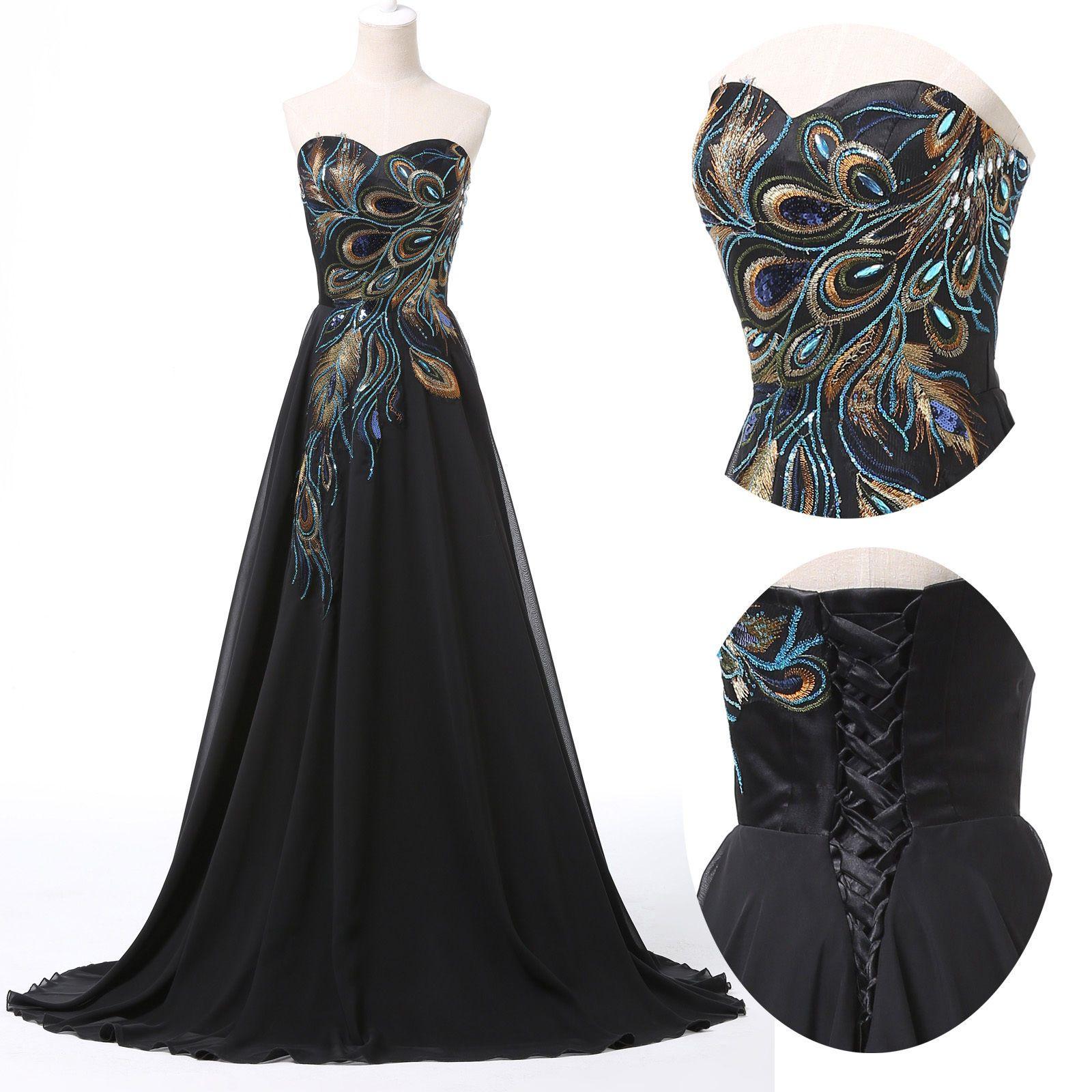 Vintage Peacock Style Masquerade Ball Gown Bridesmaid Party Maxi ...