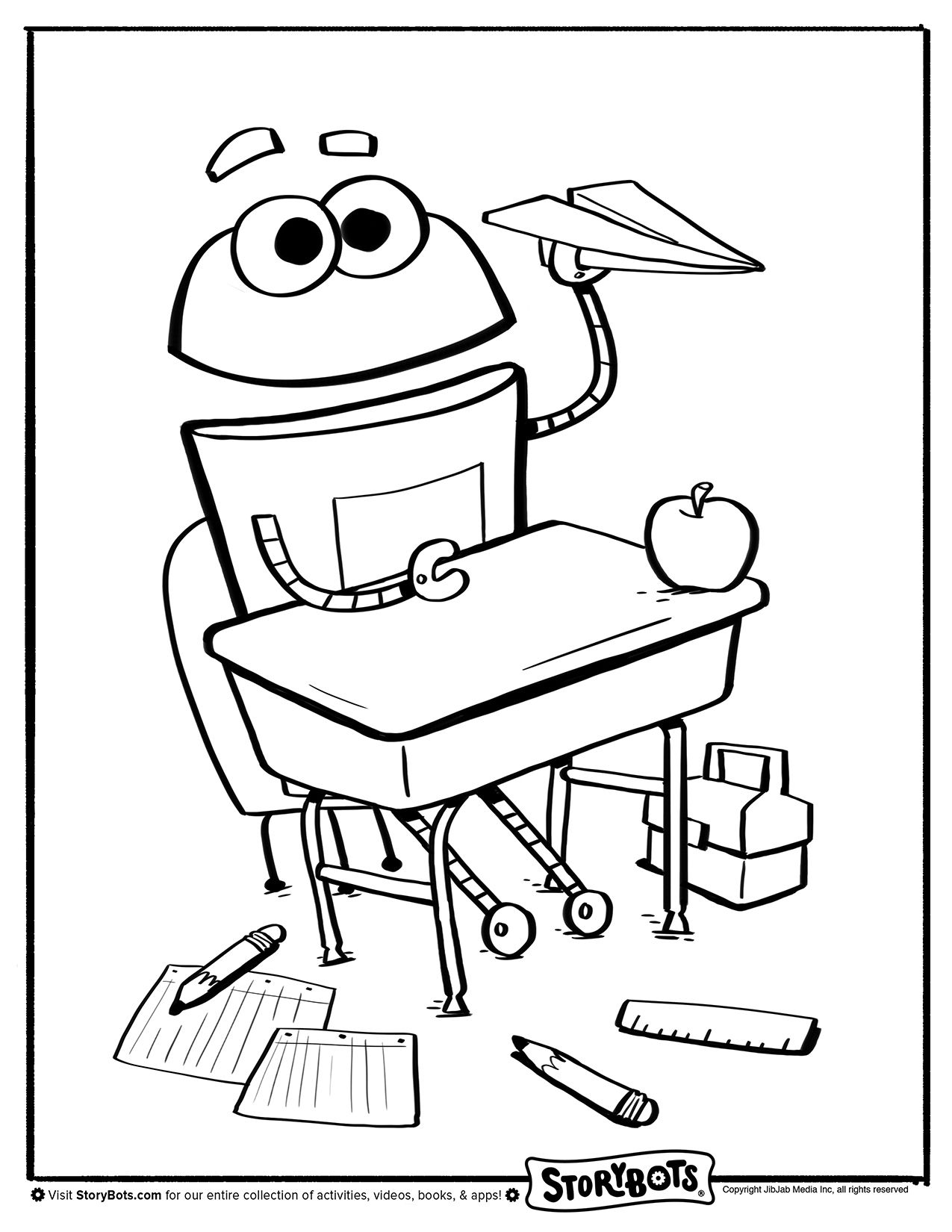 storybots coloring pages Coloring Sheet   Paper Airplane | Back to School Activity Sheets  storybots coloring pages