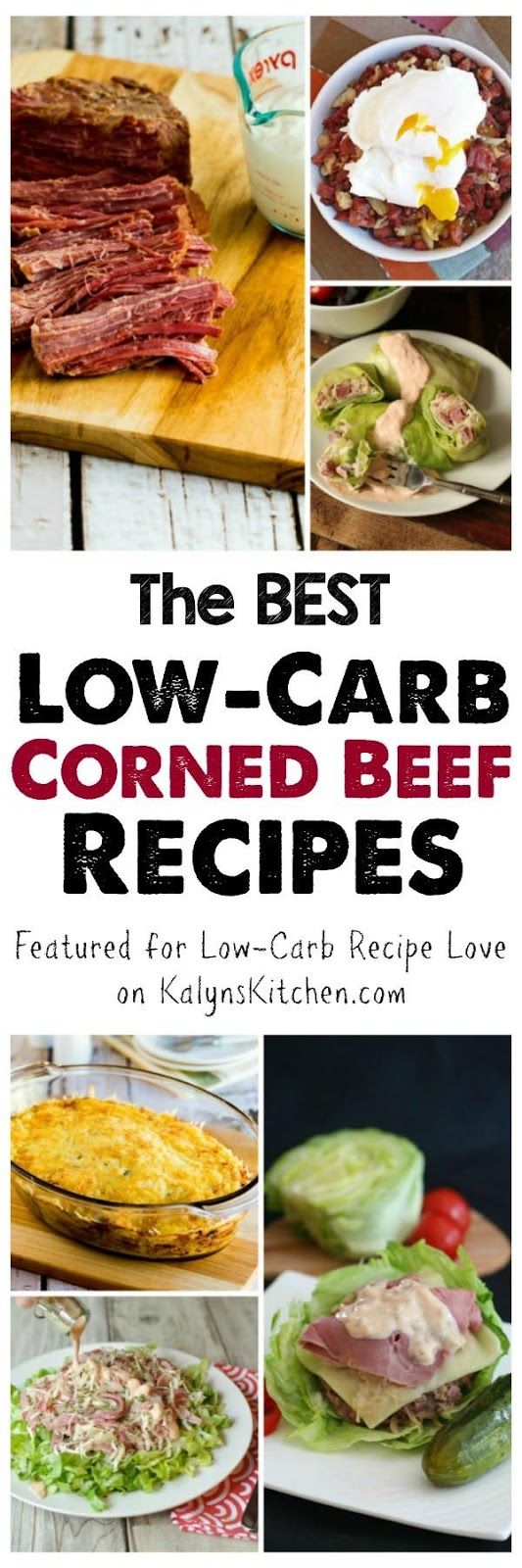 This collection of The BEST Low-Carb Corned Beef Recipes shows you how to cook corned beef, and also features creative and interesting ideas for using leftover corned beef!  [featured for Low-Carb Recipe Love on KalynsKitchen.com]