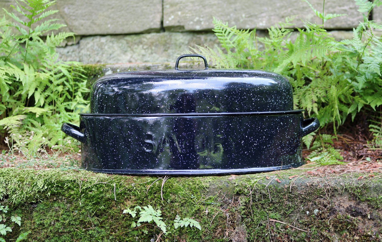 Savory Medium 15 X 10 Oval Double Walled Graniteware Enamelware Roaster Baking Pan Lid 1930s Dutch Oven Turkey Enamelware Vintage Cookware Vintage
