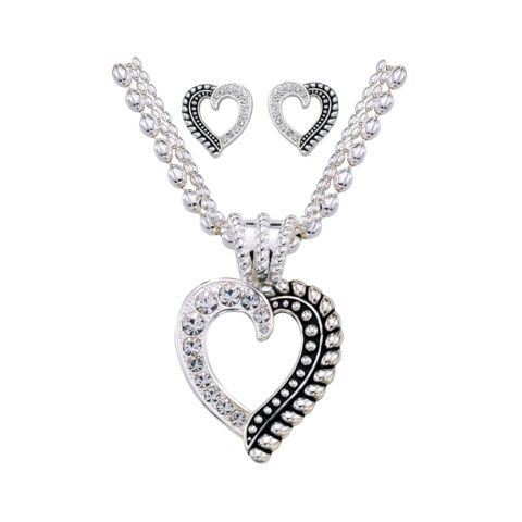 Montana Silversmiths Ladies Twisted Rope and Crystal Heart