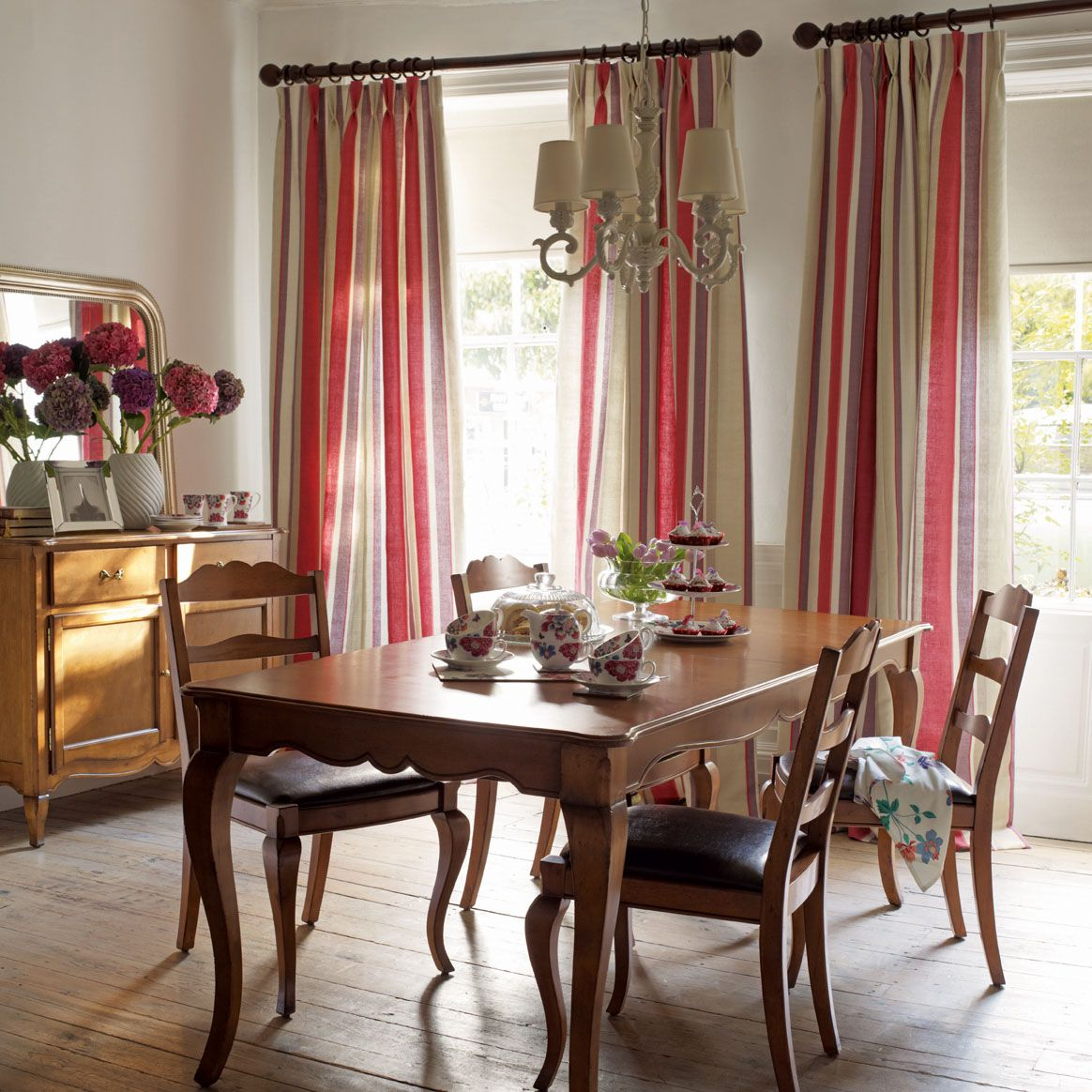 Lovely Dining Room Using Laura Ashley Eaton Stripe Linen Cotton Fabric Cranberry