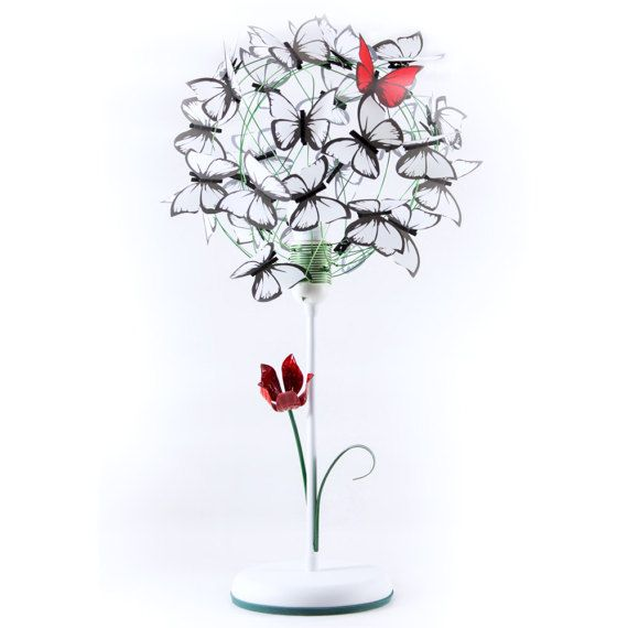 Properties table lamp made of iron white base tulip and leaf hand properties table lamp made of iron white base tulip and leaf hand painted green aluminum wire white butterflies and 1 red butterfly made of fre keyboard keysfo Gallery