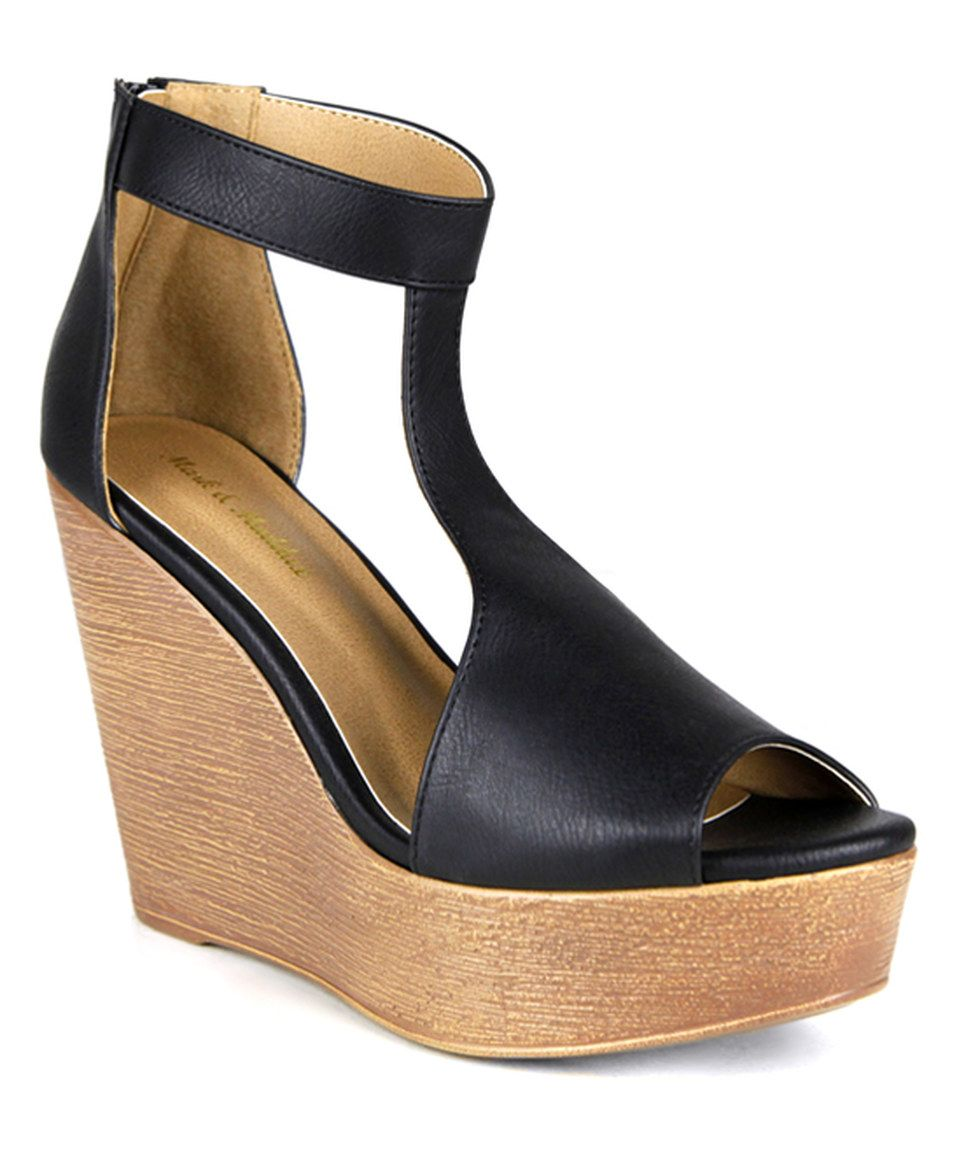 Another great find on #zulily! Fahrenheit Black Wade T-Strap Wedge Sandal by Fahrenheit #zulilyfinds
