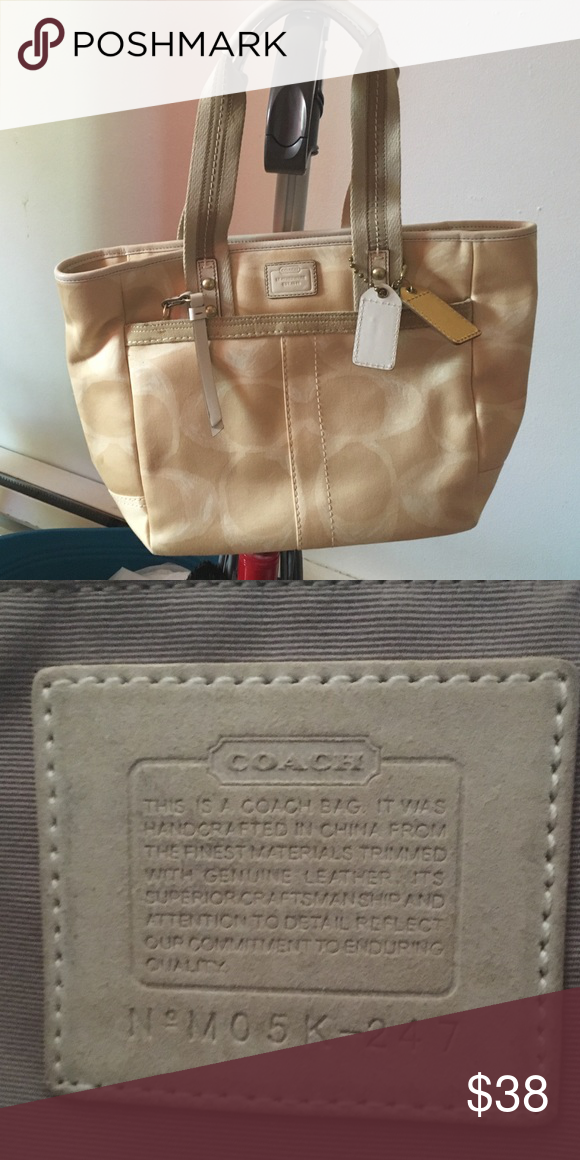 ... city tote in signature coated canvas bag light gold khaki saddle 21ddc  5e483  sale authentic coach light tan coach tote very good condition coach  bags ... ed47e7876beb9